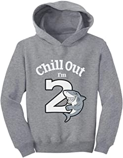 Tstars Gift for 2 Year Old Boy Girl Chill Out Shark 2nd Birthday Toddler Hoodie