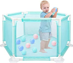 Baby Playpen Safety Fence Panel Kids Activity Center Room Fitted Floor Mats with Ocean Ball for Babies Toddler Newborn Infant Safe Crawling