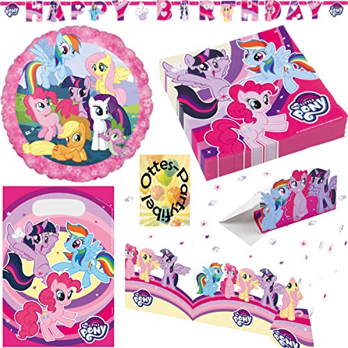 My Little Pony Dekoset 39tlg. für 8 Gäste Servietten Tischdecke Tüten Einladung Folienballon Happy Birthday Banner