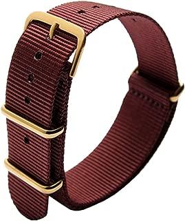 OliBoPo NATO Style Waterproof Ballistic Nylon Watch Strap Watch Bands Bracelet (18mm, Wine Red)