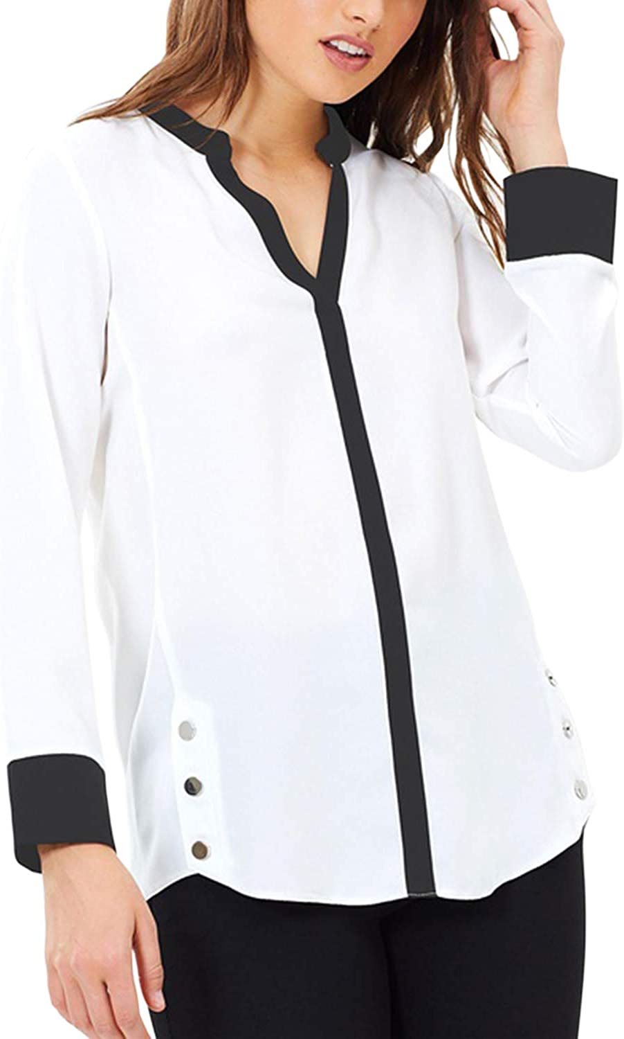 Blooming Jelly Womens White Work Blouse Long Sleeve V Neck Shirts color Block Button Top