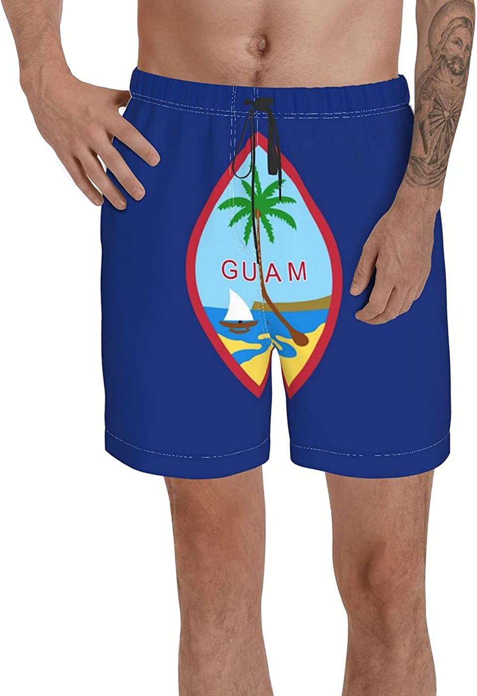 Count Guam Flag Men's 3D Printed Funny Summer Quick Dry Swim Short Board Shorts with