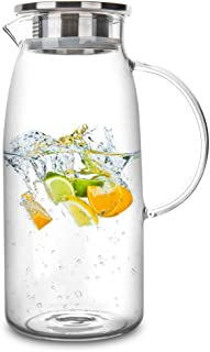 Best 60 Ounces Glass Pitcher with Lid, Hot/Cold Water Jug, Juice and Iced Tea Beverage Carafe Review