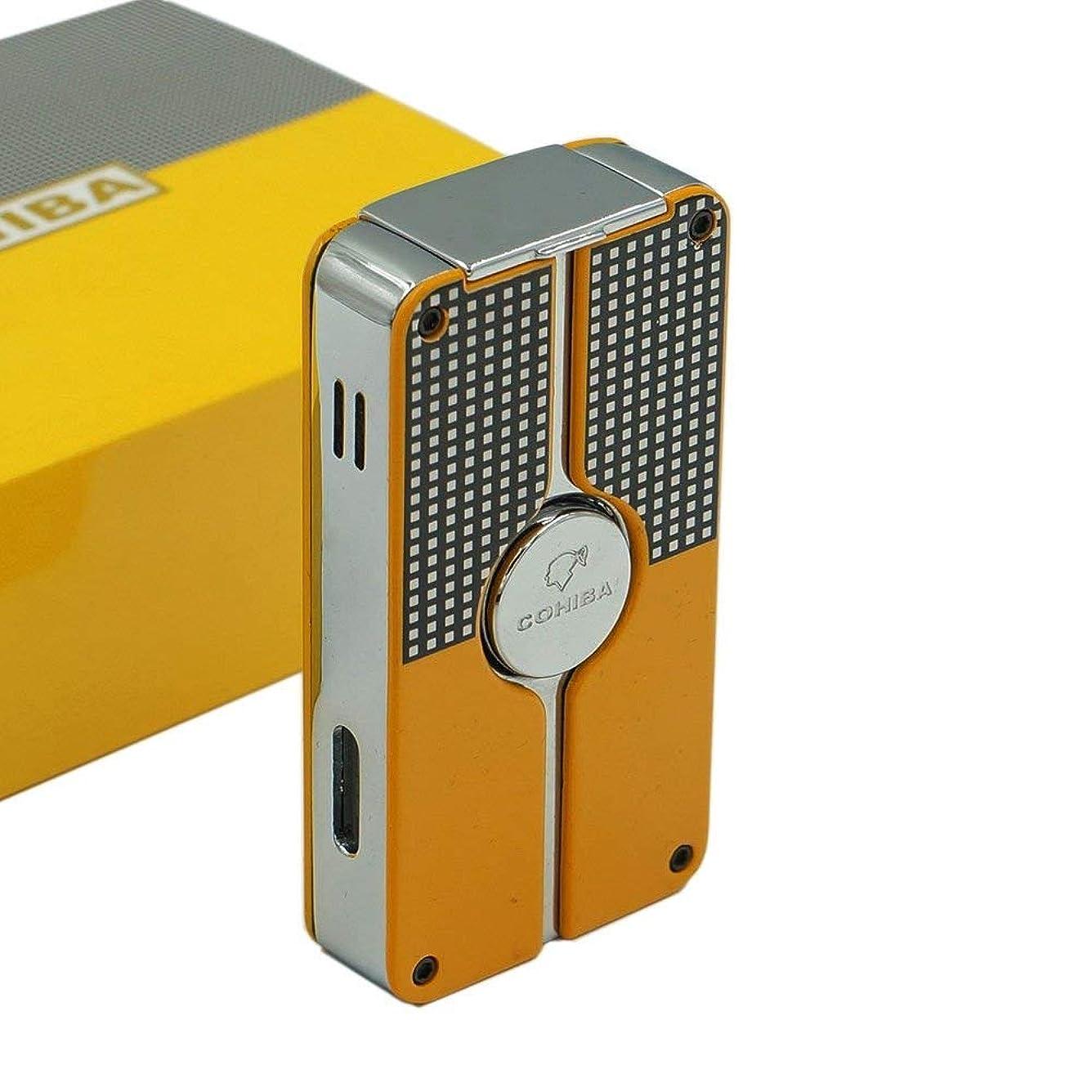 謝罪ダンスカリキュラムCOHIBA/喫煙具/葉巻/シガーライター/COHIBA Yellow Finish Classic Torch Jet Flame Cigar Lighter W/Punch New Design
