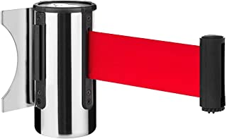 "DuraSteel Crowd Control Wall Barrier - Wall Mount 96"" Red Retractable Belt w/ Chrome Body - Safe Braking System and Locking Button - Used in Retail Stores, Airports, Banks, Restaurants, Hotels"