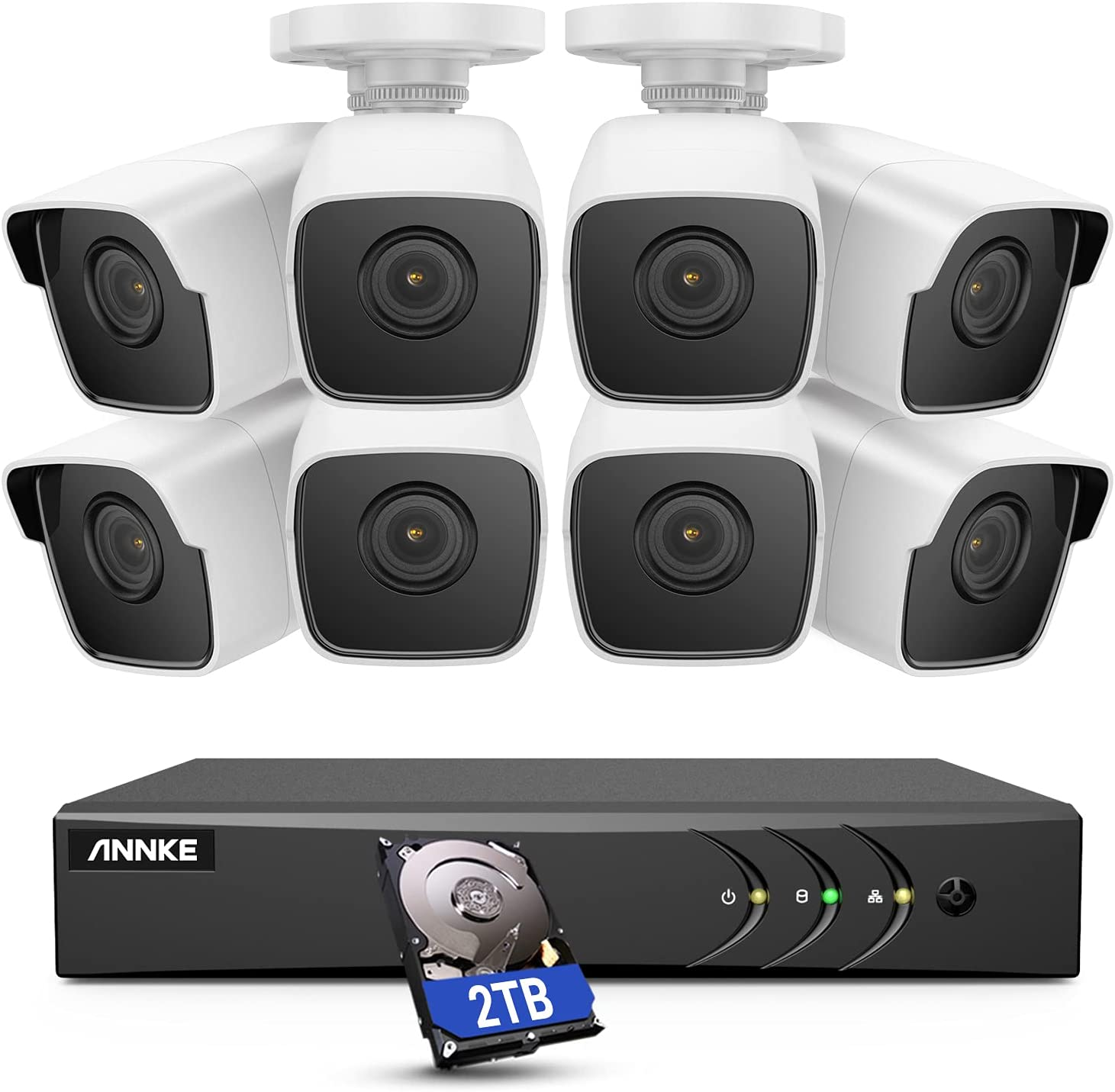 ANNKE 8CH 8 Camera Security System H.265+ DVR Recorder and 8 x 5MP IP67 Weatherproof Outdoor CCTV Cameras, 100 ft Night Vision with Smart IR & WDR for Home Surveillance, 2 TB Hard Drive - E500