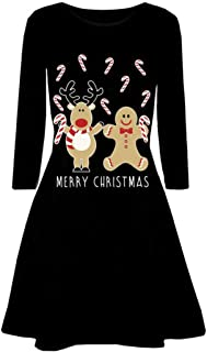 Soluo Women Christmas Long Sleeve Flared Dresses Casual Santa Floral Print Swing Dress A Line Xmas Printed Tunic