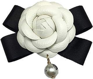 """1 pz Camellia Fiore Accessori fai-da-te Accessori per cellulare Accessori da 2,4 """"in pelle vintage con fiocco in pelle per..."""