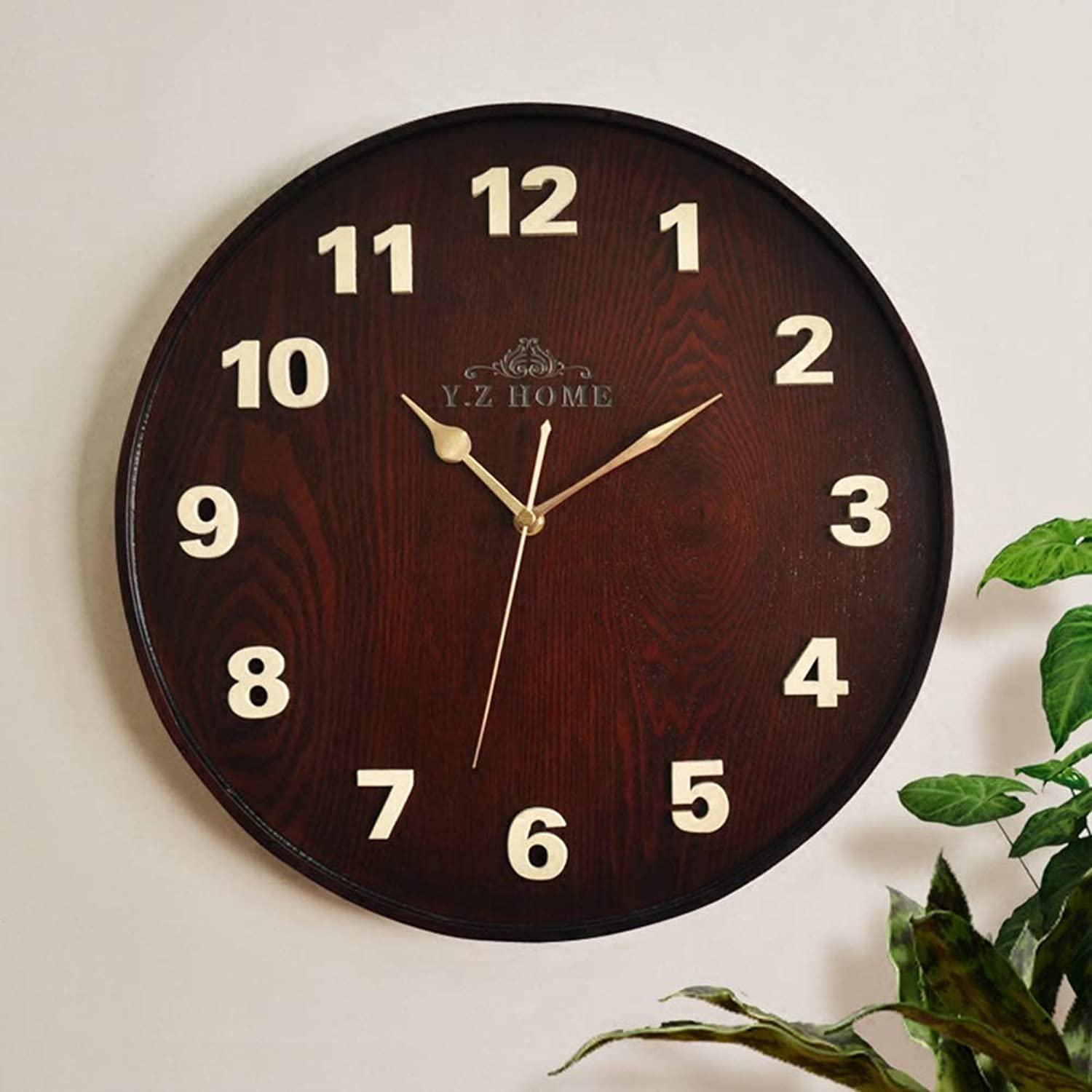 Wall Clock Wooden Vintage Non-Ticking Number Wall Clock 16inch Quartz Silent Sweep Wall Clock Decorative Indoor Kitchen (color   B)