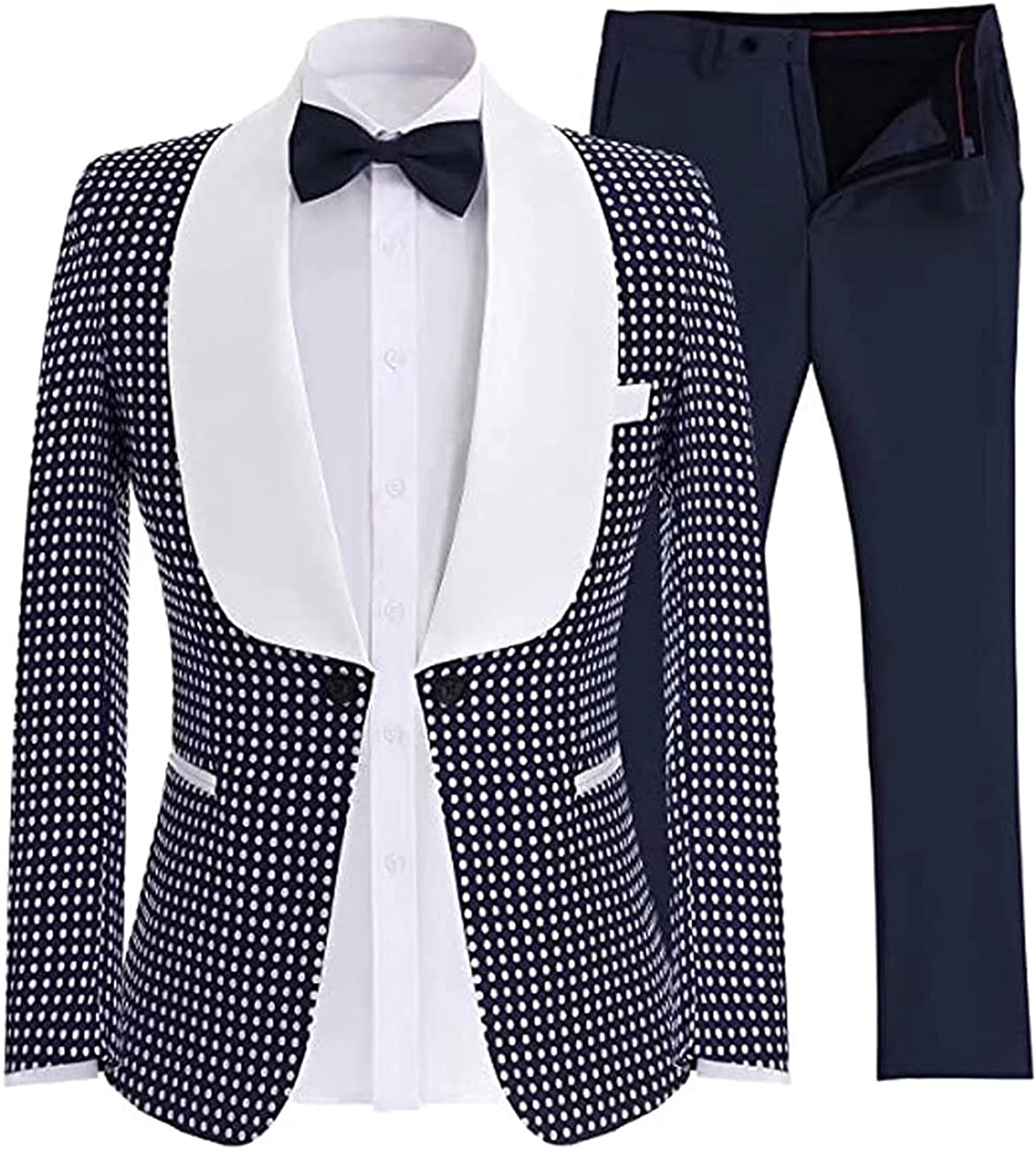 Wangyue 2 Pcs Men's Polka Dot Suit,Fashion Slim Casual One Button Blazer Pants Tuxedo for Wedding