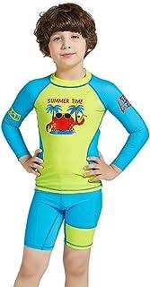 LSERVER 水着 スイムウエア 男の子 フィットネス 子供服 上下 速乾 長袖 セパレート ボーイズ 競泳 日焼け止め UVカット