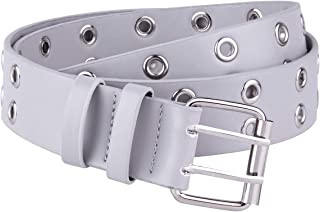 moonsix Leather belt for Man for Women, Hole Belt Double Grommet Twin Prong 1.5 inch width