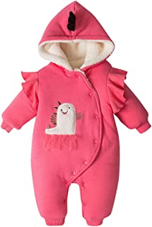 Lanyun Baby Unisex Winter Cartoon Ears Button Hoodie Thick Coat Jumpsuit 0-24M