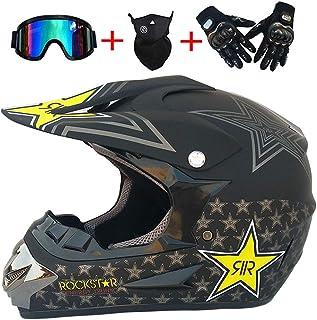 Motocross Quad Crash Helmet Full Face Off Road ECE Downhill Dirt Bike MX ATV Adulto para Harley Davidson/Kawasaki / Yamaha/Suzuki / Honda/Triumph / BMW Moto Casco Guantes, Gafas, Máscara, 4 Piezas
