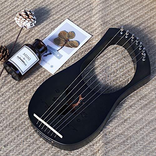 Tragbare Lyre Harfe, Trompete Leiern, 7 Metall String Knochen Sattel Mahagoni Lye Harfe mit Stimmschlüssel und Schwarz Gig Bag, Großes Geschenk für Anfänger, Musikliebhaber,Schwarz,Reindeer