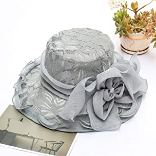 SHENTIANWEI 2019 New European and American Fashion Sun hat mesh lace Flowers hat Millinery Summer Outdoor Foldable Large Brimmed (Color : Grey, Size : Adjustable)