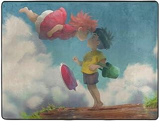 Ranphykx Ponyo Pony Sosuke - Alfombra para dormitorio, camping, suave, antideslizante, para sala de estar, para niños, decoración del hogar, 63 x 48 pulgadas