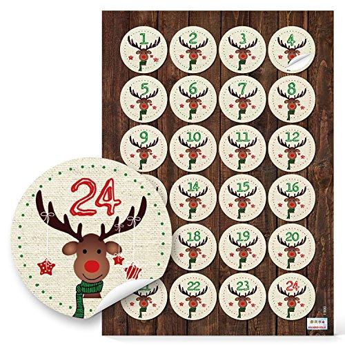 24 Adventskalenderzahlen 1 bis 24 Zahlen Aufkleber HIRSCH rot grün für Kinder Sticker Adventskalender basteln 4 cm Weihnachtkalender mit Papiertüten selbermachen Nummern-Aufkleber