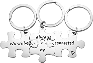 MYOSPARK We Will Always Be Connected Puzzle Keychain Set of 3 Long Distance Relationship Gift for Best Friends Family