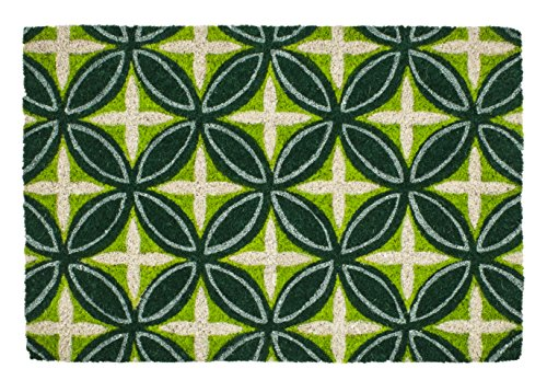 Entryways P2149 Ineinandergreifende Ringe Rutschfeste Fussmatte, Coir, grün, 40 x 60 x 1.5 cm