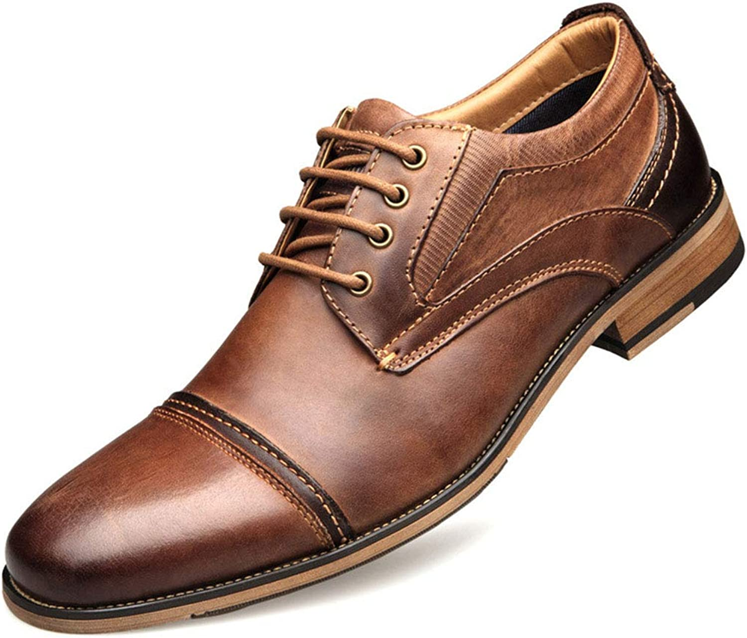 Men's Business Derby Leather shoes Formal Dress Lace ups shoes Work Casual Low heel Footwear For Men
