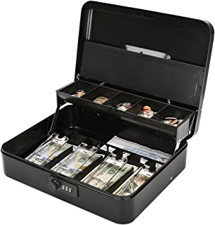 Jssmst Locking Large Metal Cash Box with Money Tray, Money Box with Combination Lock, Black