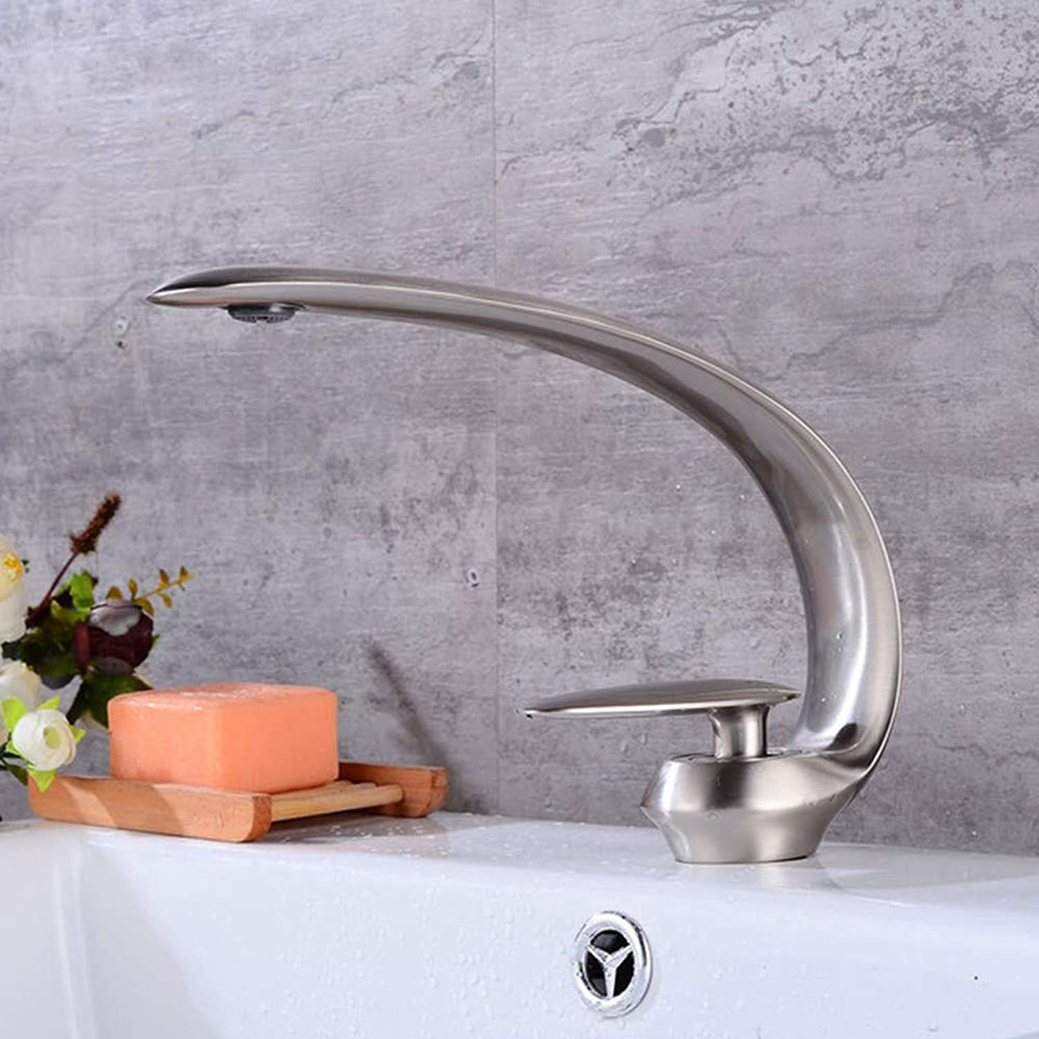 JYTNB Brushed Nickel Sink Faucet, Modern One Hole Deck Mount Lead Free Solid Brass Single Lever Hot Cold Mixer Sink Tap Washbasin Washroom Lavatory Sink Faucet