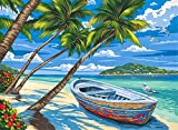 DIY Oil Painting Paint by Numbers Kits for Adult Paint Color According to The Numbers on The Canvas 16x20 inch Drawing with Brushes Christmas Decor(Without Frame) (Boat on The Lake)