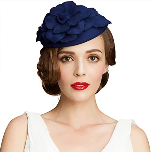 502995b698a Lawliet Autumn Winter Beret Hat Flower Wool Fascinator Hat Hair Pillbox Hat  Lady Wedding Party Fedoras