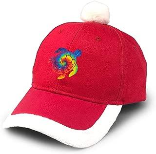 Tie Dye Hawaii Turtle Christmas Santa Hat Baseball Cap Hip Hop Caps with Plush Pom Pom