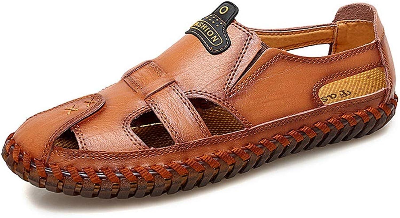 EGS-schuhe Neue Herren Ledersandalen Loch Breathable Casual Herrenschuhe Set Fu Dad Coole Schuhe,Grille Schuhe (Farbe   rot braun, Größe   44)