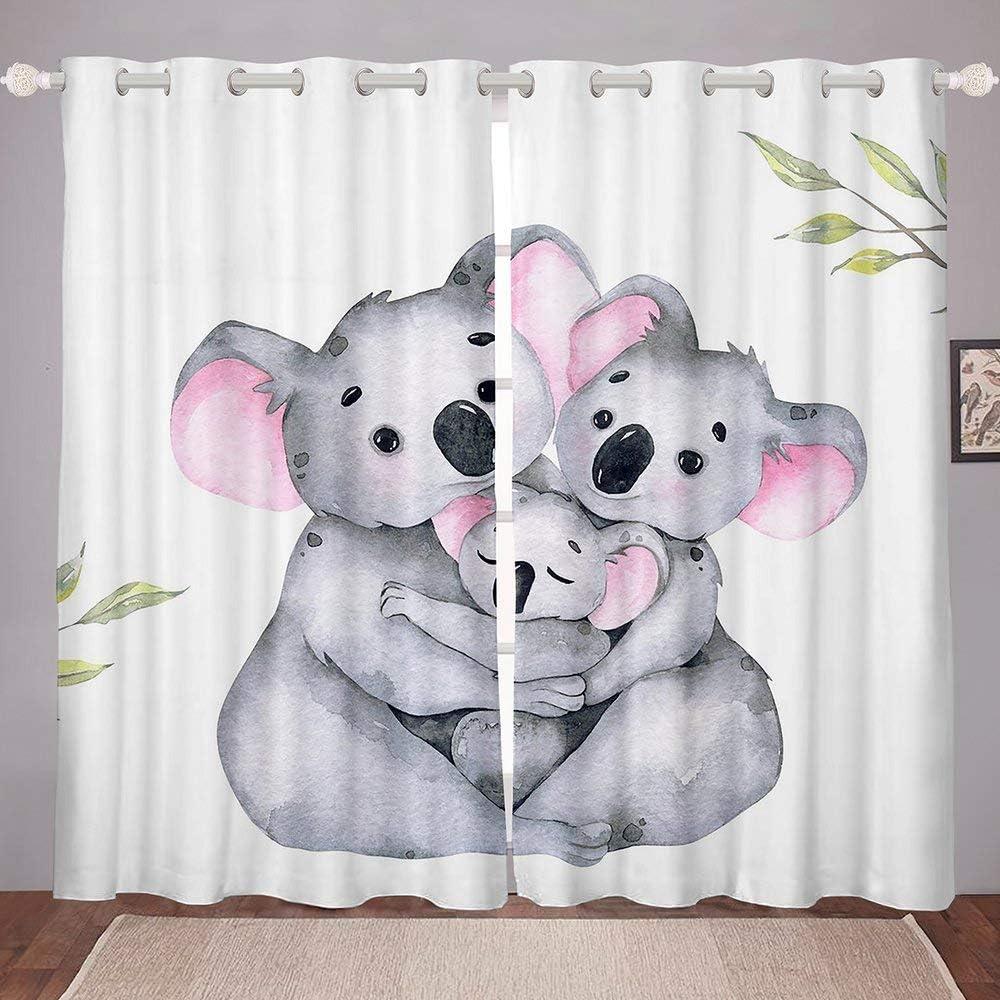 Happy Koala Family Window Curtain Now on sale Three Embrace White Cheap mail order sales Koalas Bac