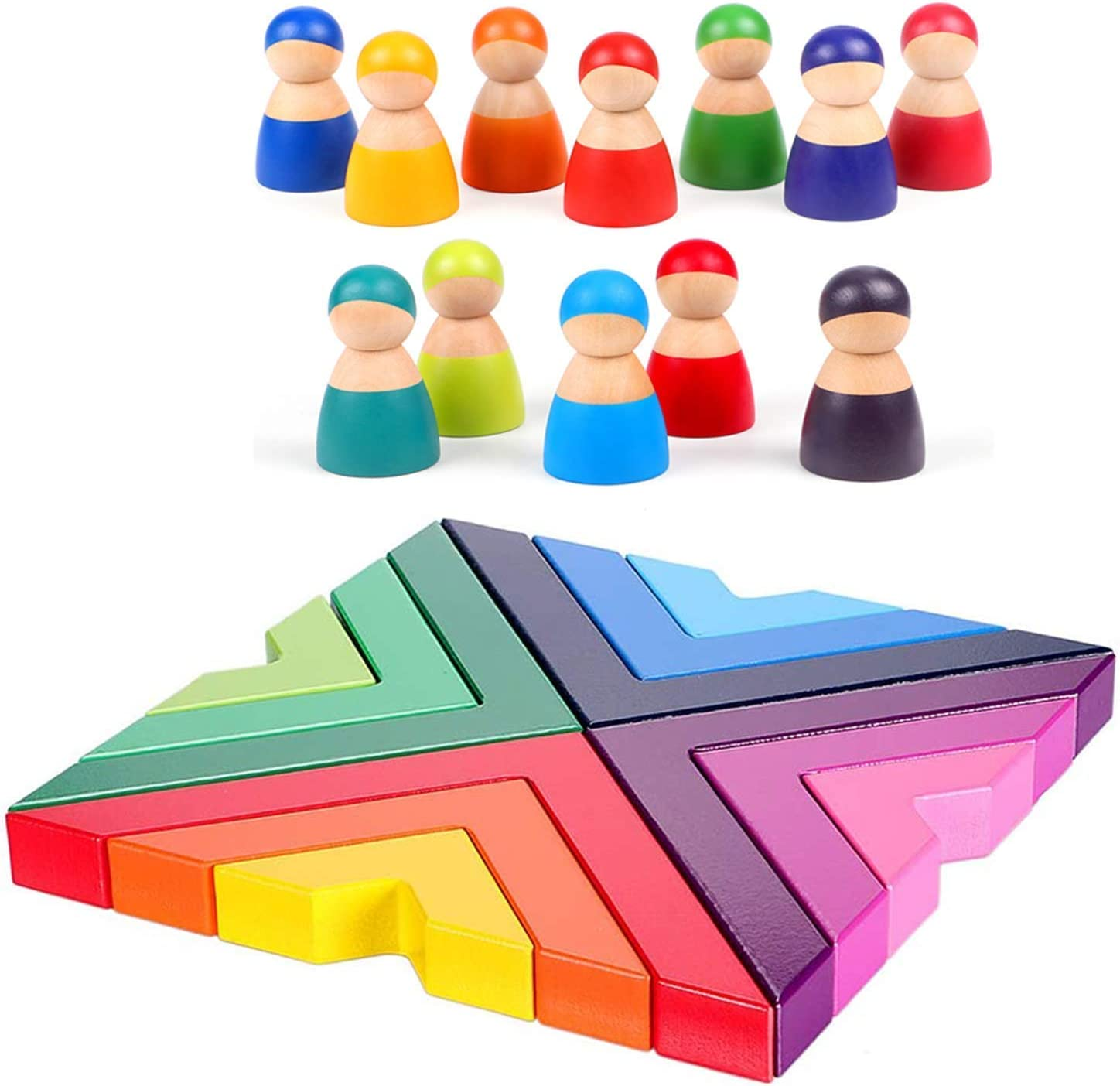 Over Super popular specialty store item handling ☆ Lewo Wooden Rainbow Stacking Game Nesting fo Dolls Peg Toys Wood