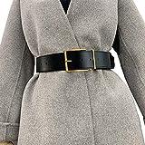 Longwu, cinturón de cuero PU con hebilla cuadrada a la moda para mujer, cinturón ancho, cinturón, vestido, abrigo, suéter, cinturón para damas, trabajo de fiesta