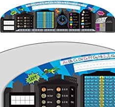 """Really Good Stuff Superhero Desktop Helpers (Set of 24) – 18"""" by 5"""" Handy Reference for Numbers, Letters, Shapes, Place Values and More – Durable Vinyl Self-Adhesive Resource for Student Desks"""