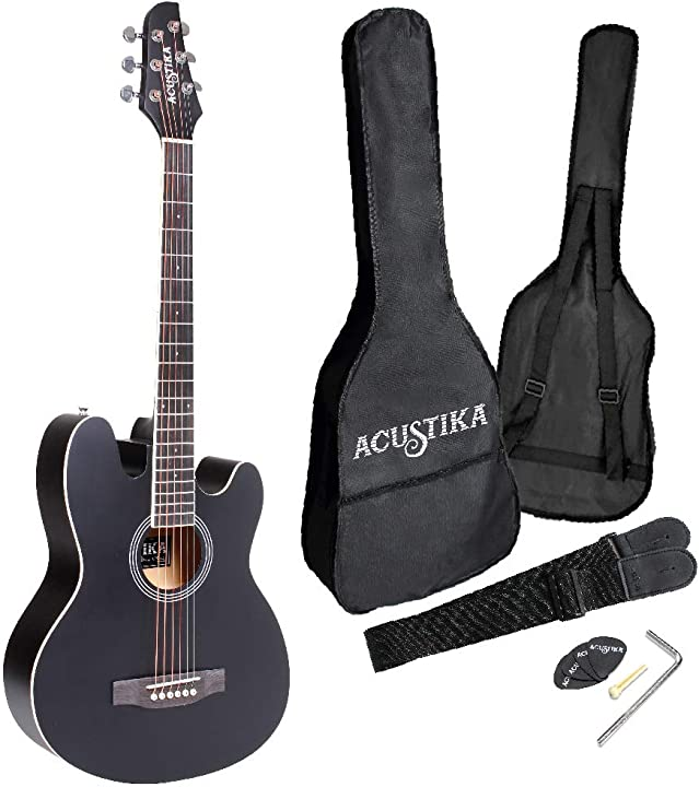 """Chitarra acustica misura 39"""" (97x36x9,5) cm in legno - 6 corde in acciaio, colore nero matto. B08K8XN7Z3"""