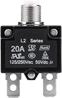 Thermal Overload Protector, AC 125/250V Push Reset Button Circuit Breaker Protector (20A)