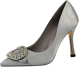 iMaySon European and American Style Banquet Women's High Heel Satin Shallow Mouth Pointed Rhinestone Buckle Sexy Single Shoes
