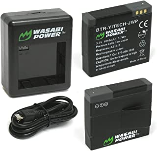 Wasabi Power Battery (2-Pack) and Dual Charger for YI Technology YI Action Camera U.S. Edition and YI 88001, 88002, 88009, 88010, 88011