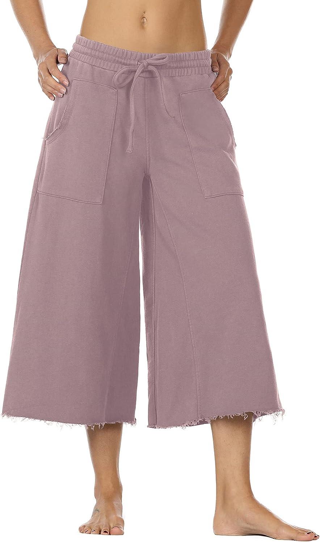 icyzone Culottes Time sale Capri Popular brand Pants for Women Wide Waist - Leg Elastic