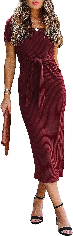 Dokotoo Women's Casual Elegant Scoop Neck Short Sleeve Bodycon Tie Waist Cocktail Dress