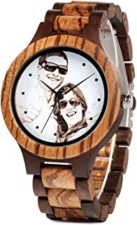 Engraved Wooden Watches for Men Photo Engraved Dial Personalized Customized Mens Wrist Zebrawood Watch Gift for Father Husband Boyfriend or Family with Wooden Gift Box