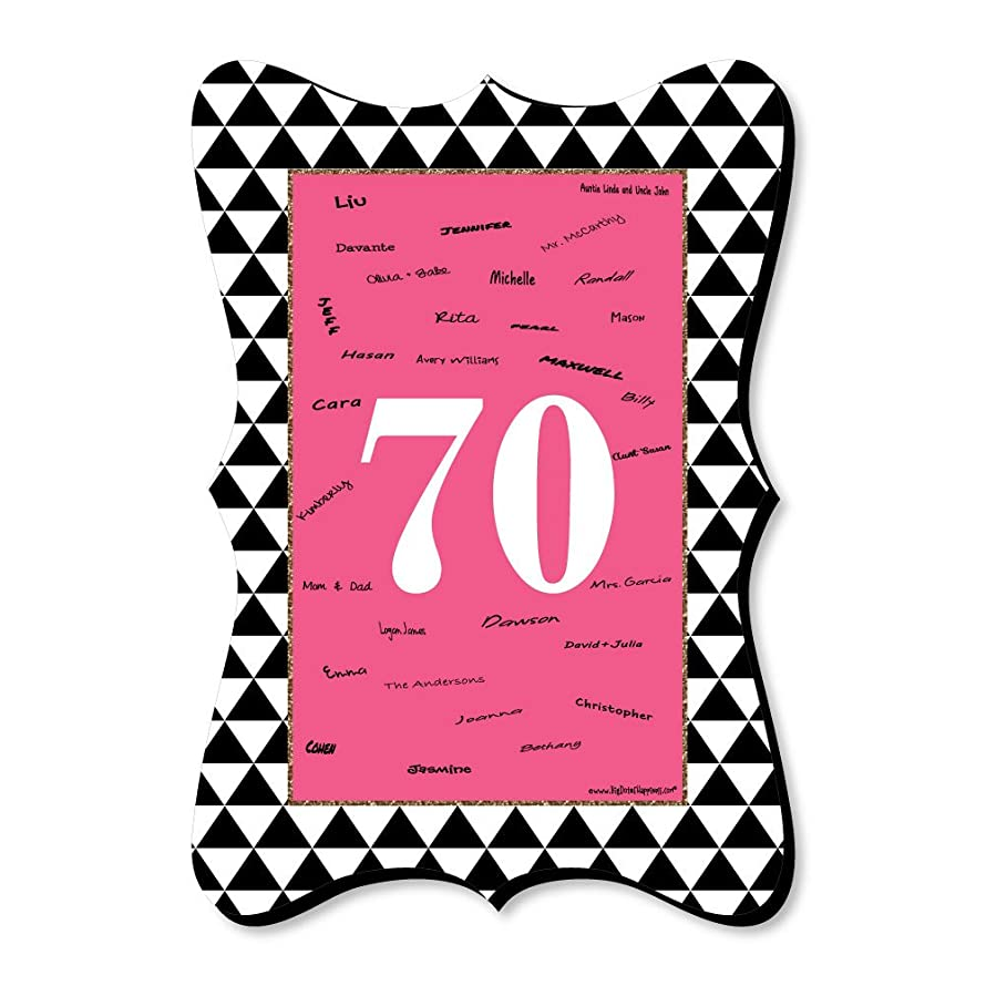 Big Dot of Happiness Chic 70th Birthday - Pink, Black and Gold - Unique Alternative Guest Book - Birthday Party Signature Mat