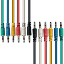 AxcessAbles TRS18-Patch115 6-Pack Multi-colored 3.5mm TRS to 3.5mm TRS Balanced Instrument Cord Guitar Pedal, Synthesizer Patch Cables - Red/Yellow/Blue/Green Black/White (1.5Ft)