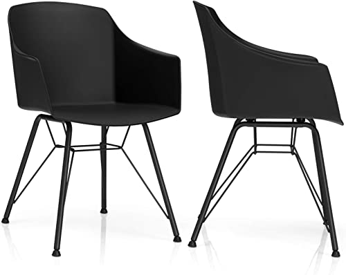 high quality Giantex Set of 2 Modern online Dining Chairs, Plastic Dining Arm Chairs w/Metal Base, Ergonomic Backrest, Anti-Slip Foot Pads, Modern Leisure Chairs for Dining Room, online sale Kitchen (2, Black) outlet sale