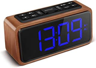 FM Radio Alarm Clock, Koosin Large LED Display Wood Digital Alarm Clock, Adjustable Brightness Dimmer and Snooze, Simple LED Clock with Dual Alarm, 12/24 Hour, Powered by AC Adapter