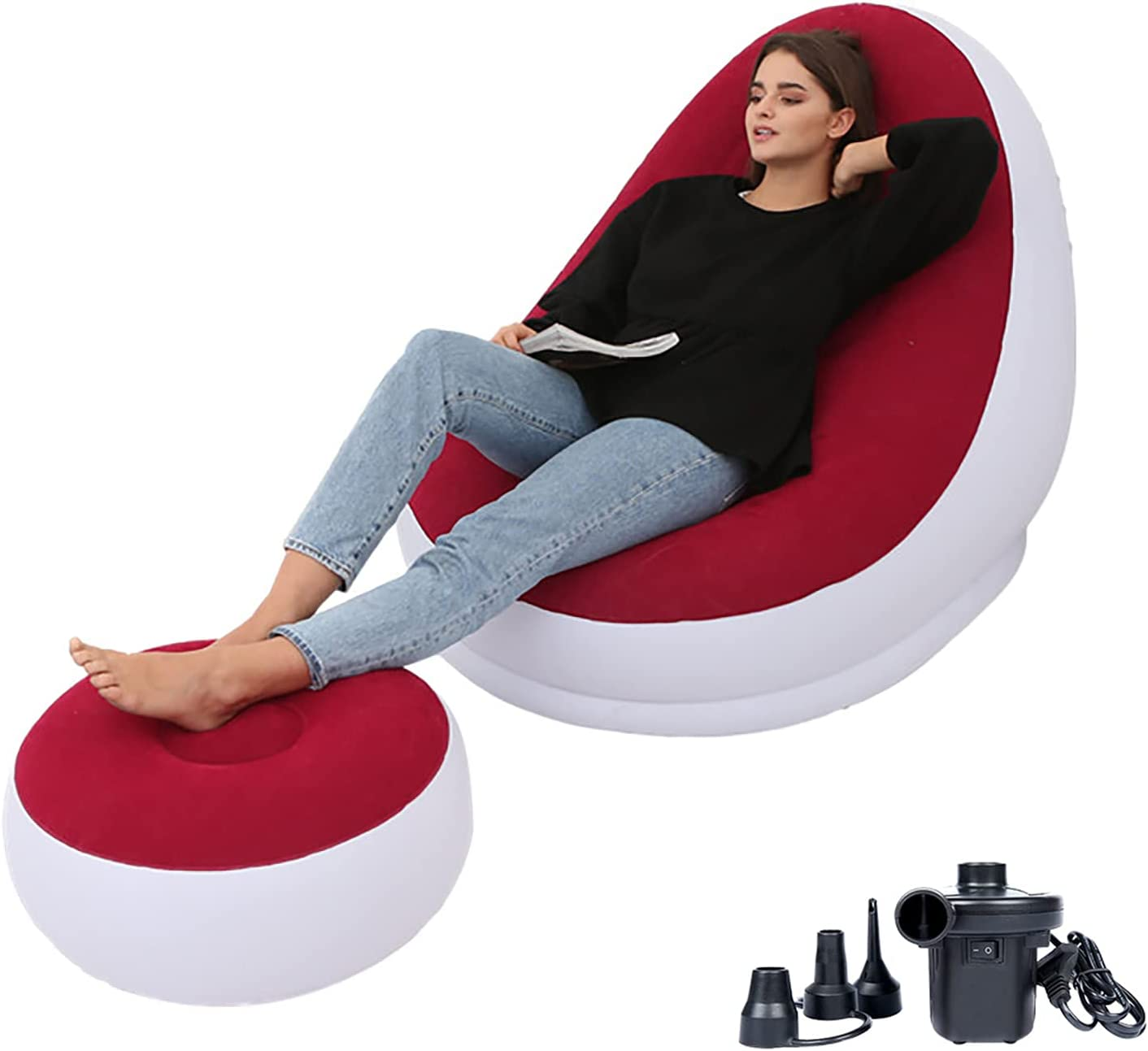 PLKO Inflatable Chair with Household air Pump,air Sofa Inflatable Couch,Inflatable Lounge Chair for Indoor LivingRoom Bedroom ReadingRoom Office Balcony,Outdoor Travel Camping Picnic(Red and White)