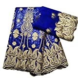 Royal Blue Embroidery African American Lace Fabric French Tulle Bazin Riche Swiss Voile Lace Bridal Dress Women DIY Sewing