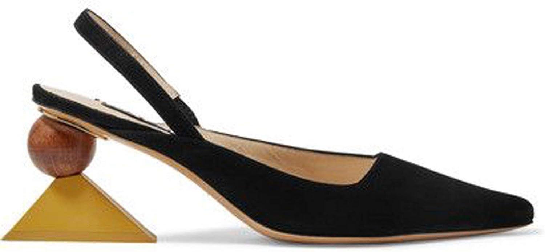I Need-You Strange Heel shoes Woman Sandalie Asymmetrical Square Heel Sandals Pointed Toe Slingback Pumps Middle Heels Wedge Pumps