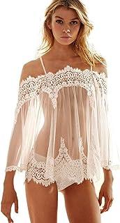 Ausexy Women Sexy Lingerie Off Shoulder Babydoll Sleepwear Underwear Lace Dress See Though Romantic Nightwear +G-string Nightdress Nightgown